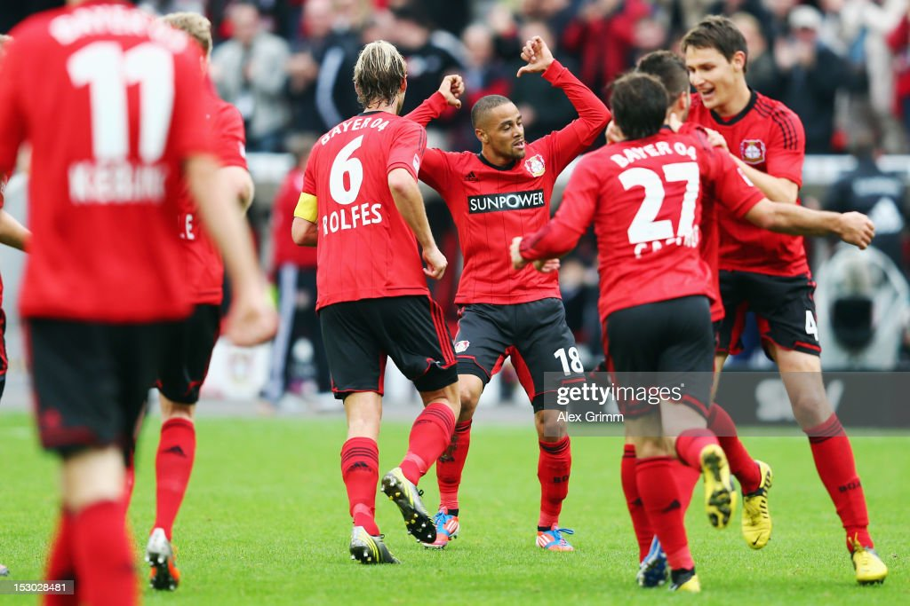 Sidney Sam (C) of Leverkusen celebrates his team's second goal with team mates during the Bundesliga match between Bayer 04 Leverkusen and SpVgg Greuther Fuerth at BayArena on September 29, 2012 in Leverkusen, Germany.
