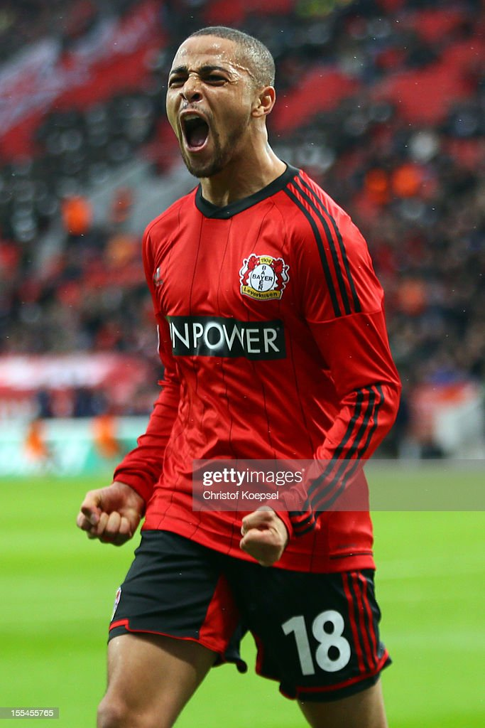 Sidney Sam of Leverkusen celebrates the first go during the Bundesliga match between Bayer 04 Leverkusen and Fortuna Duesseldorf at BayArena on November 4, 2012 in Leverkusen, Germany. (Photo by Christof Koepsel/Bongarts/Getty Images) .