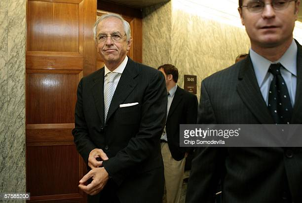 Sidney Taurel chairman and CEO of Eli Lilly Company leaves after attending a closed meeting with US Senate Finance Committee members on Capitol Hill...