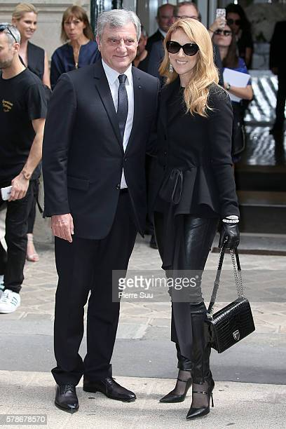 Sidney Toledano and Celine Dion arrive at the Christian Dior Haute Couture Fall/Winter 20162017 show as part of Paris Fashion Week on July 4 2016 in...