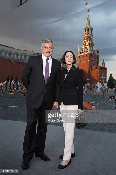 Sidney Toledano and Kouka attend the Dior A/W 20132014 show at Red Square on July 9 2013 in Moscow Russia
