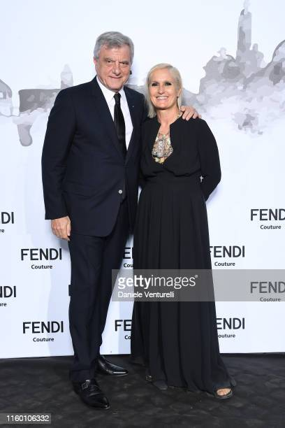 Sidney Toledano and Maria Grazia Chiuri attend the Cocktail at Fendi Couture Fall Winter 2019/2020 on July 04, 2019 in Rome, Italy.