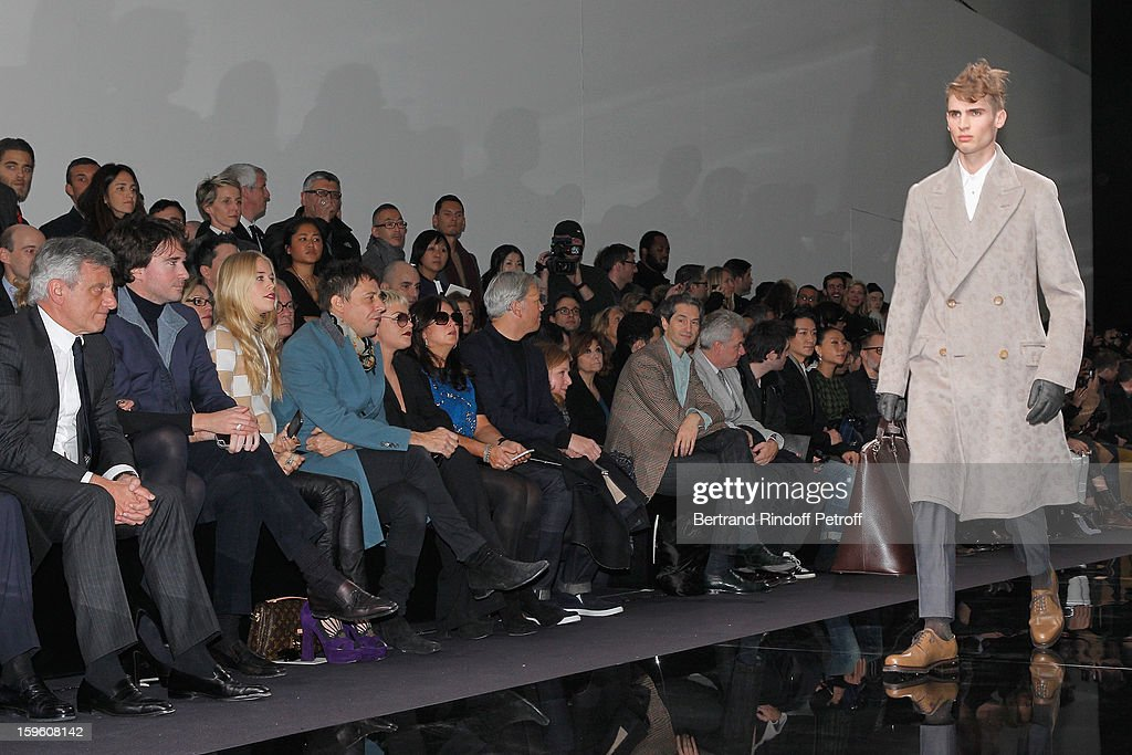 Sidney Toledano, Antoine Arnault, Lady Mary Charteris, Jamie Hince and Jaime Winstone attend the Louis Vuitton Men Autumn / Winter 2013 show as part of Paris Fashion Week on January 17, 2013 in Paris, France.