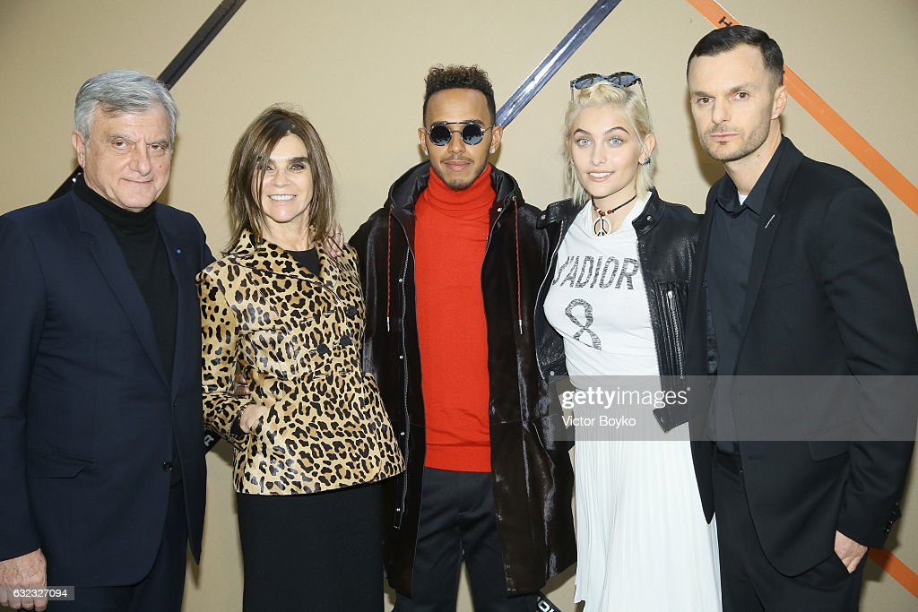 Sidney Toledano, Carine Roitfeld, Lewis Hamilton, Paris Jackson and Kris Van Assche attend the Dior Homme Menswear Fall/Winter 2017-2018 show as part of Paris Fashion Week on January 21, 2017 in Paris, France.