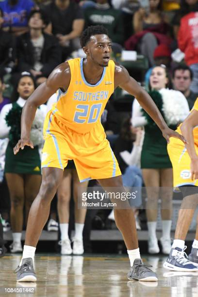 Sidney Umude of the Southern University Jaguars in position during a college basketball game against the George Mason Patriots at the Eagle Bank...