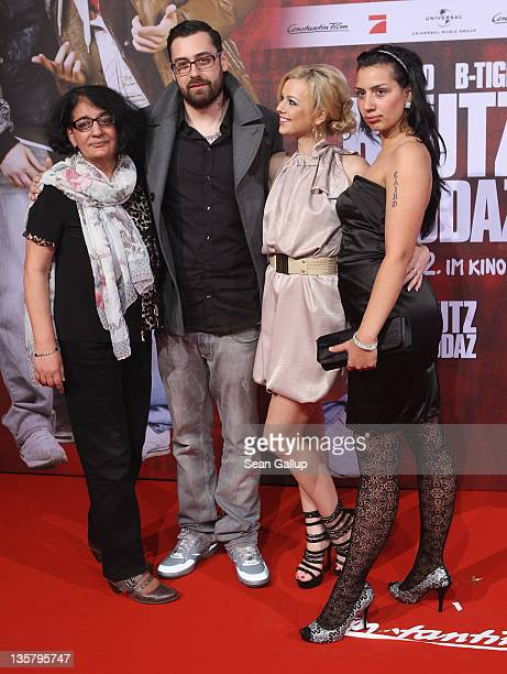 Sido his mother Sophie Wuerdig girlfriend Doreen Steinert and sister Claudia Wuerdig attend the 'Bltuzbruedaz' premiere at CineStar Sony Center on...