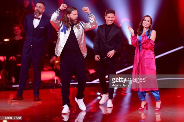 Sido Rea Garvey Nico Santos and Alice Merton attend the finals of The Voice of Germany on November 10 2019 in Berlin Germany