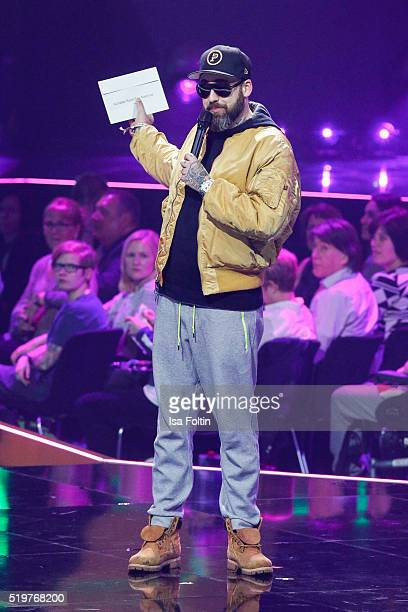 Sido speaks on stage during the Echo Award 2016 show on April 07 2016 in Berlin Germany