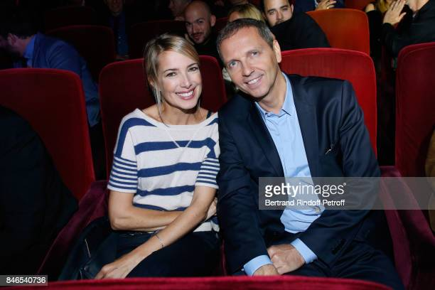 Sidonie Bonnec and Thomas Hugues attend the RTL RTL2 Fun Radio Press Conference to announce their TV Schedule for 2017/2018 at Elysee Biarritz at...