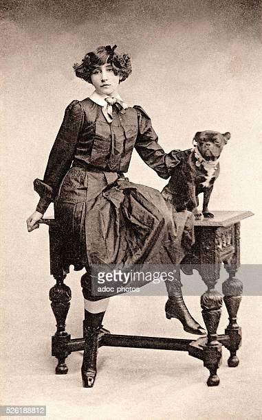 Sidonie Gabrielle Colette called Colette french writer born at SaintSauveurenPuisaye Here dressed as Claudine with TobyChien Ca 1900