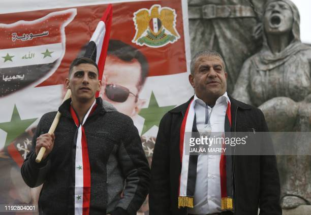 Sidqi alMaqt and Amal Abu Saleh pose for a picture following their release from a prison in Israel in the Druze village of Majdal Shams in the...