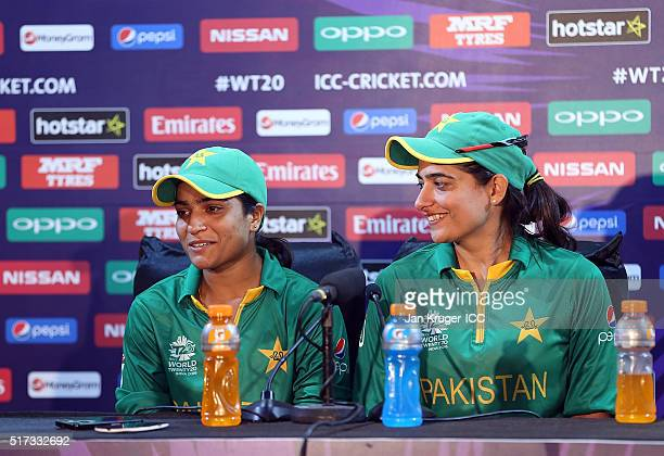 Sidra Ameen and Sana Mir Captain of Pakistan face the media during the Women's ICC World Twenty20 India 2016 match between Pakistan and Bangladesh at...