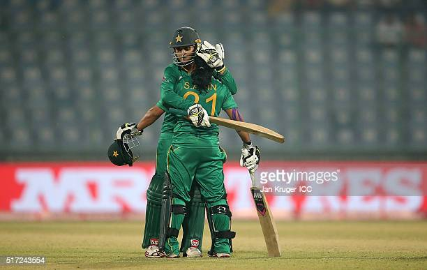 Sidra Ameen of Pakistan celebrates a half century with batting partner Bismah Maroof of Pakistan during the Women's ICC World Twenty20 India 2016...