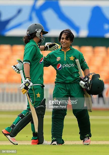 Sidra Amin of Pakistan celebrates reaching 50 runs not out during the 1st Royal London ODI match between England Women and Pakistan Women at Grace...