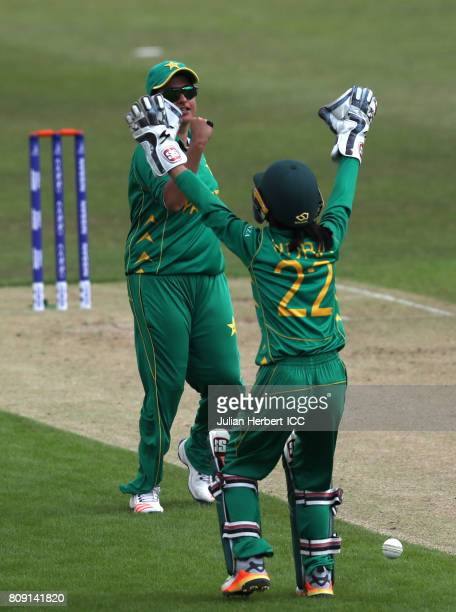 Sidra Nawaz and Sana Mir of Pakistan celebrate the wicket of Rachael Haynes Australia during The ICC Women's World Cup 2017 match between Pakistan...