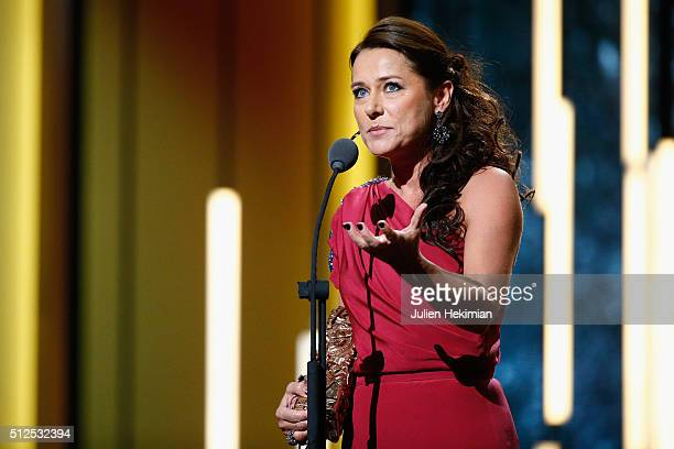 Sidse Babett Knudsen receives an award for the best actress in a supporting role in 'L'hermine' during The Cesar Film Award 2016 at Theatre du...
