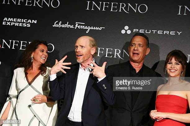 Sidse Babett Knudsen Ron Howard Tom Hanks and Felicity Jones walk the red carpet at 'Inferno' premiere at Opera Di Firenze on October 8 2016 in...