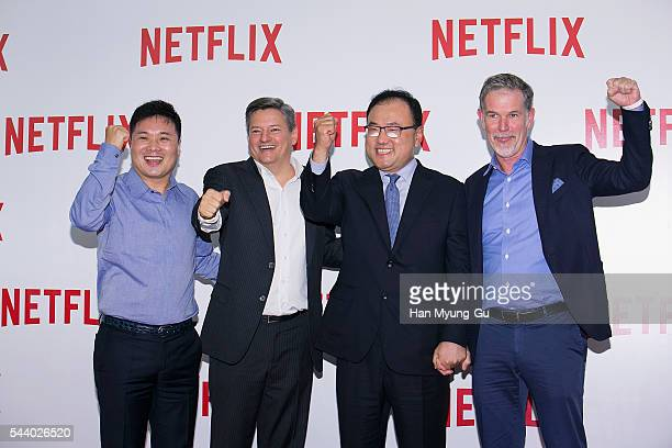 Sidus HQ's Jung HoonTak Ted Sarandos and Netflix cofounder and CEO Reed Hastings attend the '2016 Netflix Night In Seoul' at DDP on June 30 2016 in...