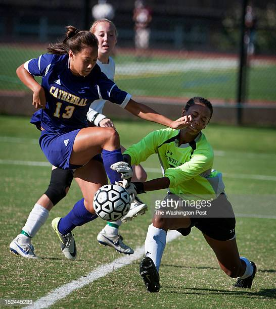 Sidwell's GK Stephanbie Everett blocks this kick by NCS's Marta Sniezek in the first half with 1530 on the clock on Wednesday September 19th 2012...