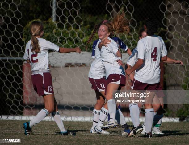 Sidwell's Joan Fleischman is congratulated by her team as she scores her second goal against NCS on Wednesday September 19th 2012 Sidwell wins 31