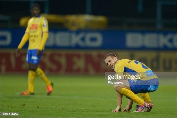 Siebe Blondelle of Waasland Beveren shows dejection during the Jupiler League match between Waasland Beveren and RSC Charleroi on November 10, 2012...