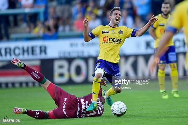 Siebe Schrijvers forward of Beveren is fouled by Brian Hamalainen defender of SV Zulte Waregem during the Jupiler Pro League match between Waasland -...