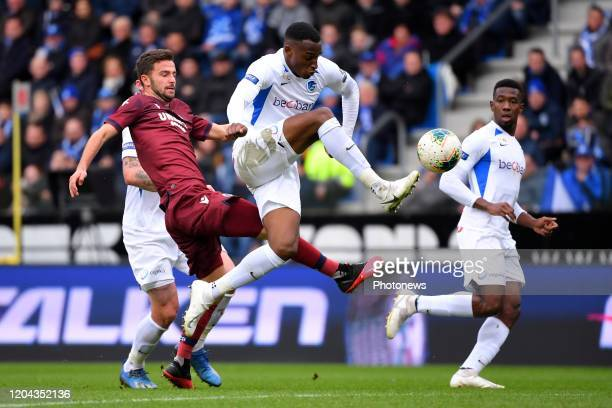 Siebe Schrijvers forward of Club Brugge Jhon Lucumi defender of Genk during the Jupiler Pro League match between KRC Genk and Club Brugge KV on March...