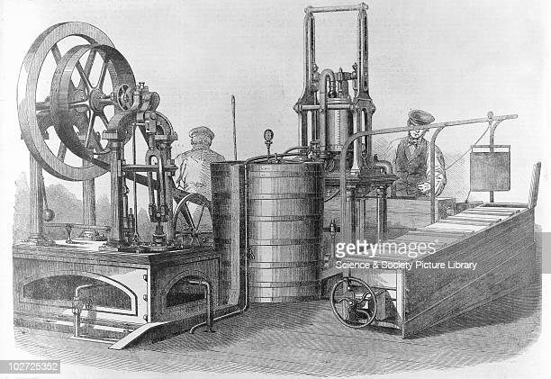 Siebes' patent icemaking machine 1862 Siebes' patent icemaking machine 1862 Plate from 'Illustrated London News' showing Seibes' icemaking machine on...