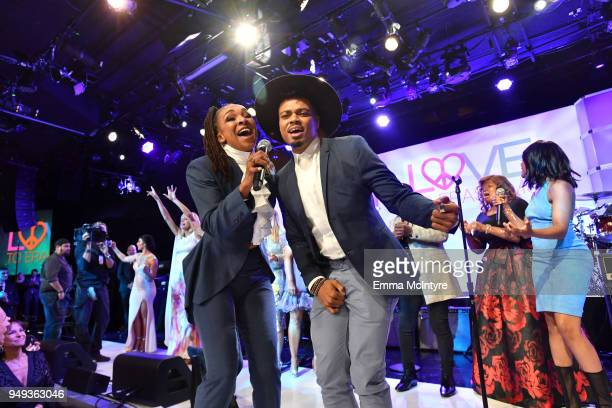 Siedah Garrett and ART perform onstage at the 25th Annual Race To Erase MS Gala at The Beverly Hilton Hotel on April 20 2018 in Beverly Hills...
