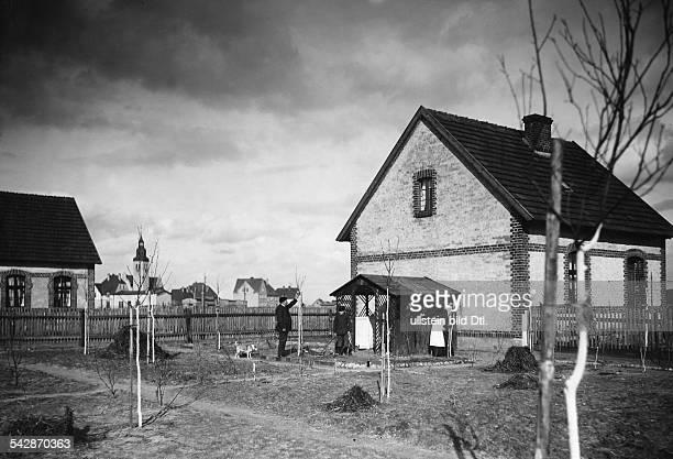 Siedlung Neu Zabikowo in der ProvinzPosen Siedlungshaus und Garten mit neuangepflanzten Bäumen 1910Foto Hünich ConradBild ist Teil einer Serie