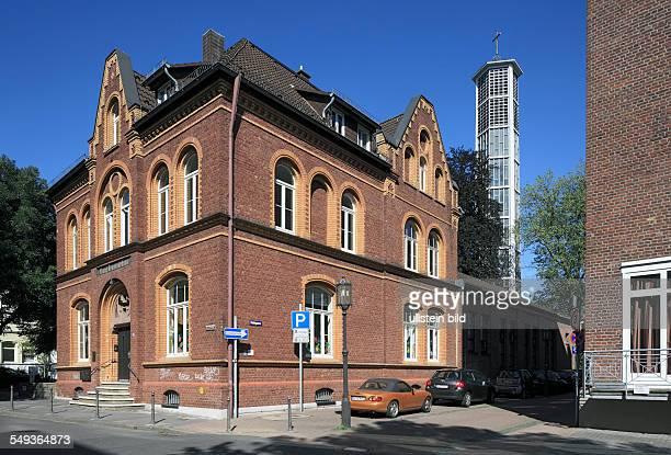 Siegburg evangelic parish hall and church tower of the Auferstehungskirche evangelic church