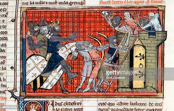 Siege of a town led by Godefroy de Bouillon c1099 Siege during the 1st Crusade showing Saracens firing arrows at Crusaders as they attempt to scale...