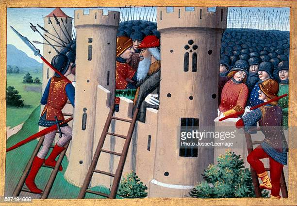 Siege of ChateauGaillard by Etienne de Vignolles called La Hire and the release of Barbazan 1449 Miniature from the manuscript Vigils of Charles VII...