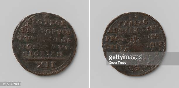 Siege of Maastricht, emergency coin of twelve pennies, Obverse: inscription, cut off: Roman numeral XII. Reverse: sword above coat of arms in...