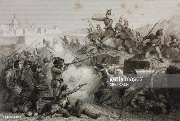 Siege of Rome by the French Army soldiers attacking an insurgents artillery station an episode of the Second Roman Republic Italy drawing by Karl...