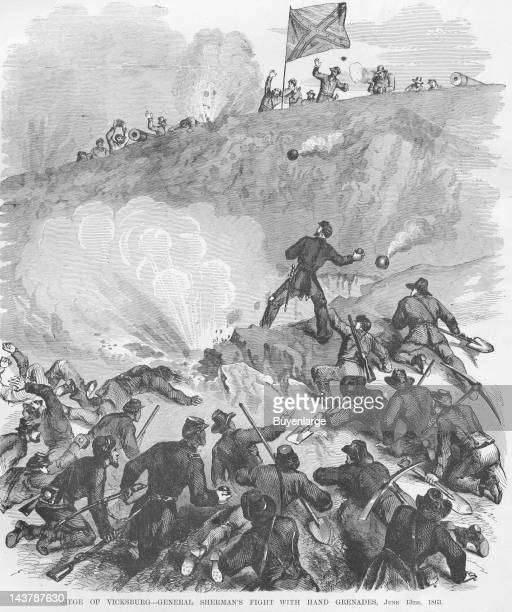 Siege of Vicksburg - Fight with Hand Grenades, Vicksburg, Mississippi, June 13, 1863. From an issue of Frank Leslie's Illustrated Almanac.