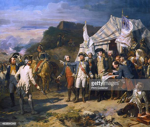 'Siege of Yorktown' 1781 French General Jean de Rochambeau and American General George Washington giving the last orders for the attack October 1781...