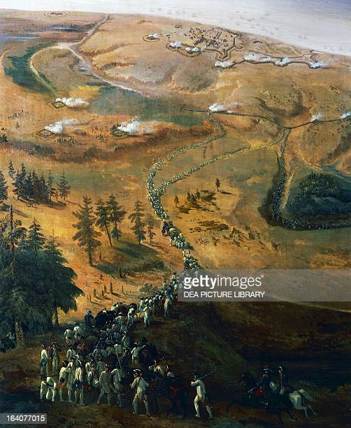 Siege of Yorktown in 1781 the arrival of General Washington and the Count of Rochambeau's troops painting by Jean Antoine Simeon Fort American War of...