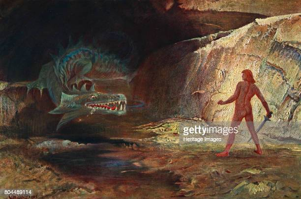 Siegfried and Fafner' 1906 Siegfried confronts Fafner the giant transformed into a dragon 'From The Ring Cycle of operas by German composer Richard...