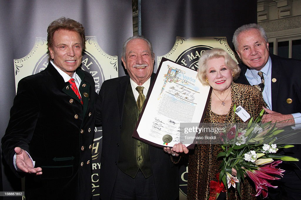 Siegfried Fischbacher, Milt Larsen, Irene Larsen and Tom LaBonge attends the Academy of Magical Arts & The Magic Castle 50th anniversary gala held at The Magic Castle on January 2, 2013 in Hollywood, California.