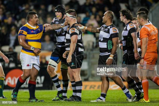 Siegfried Fisi'ihoi of the Steamers and Aidan Ross for the Magpies exchanging words during the round two Mitre 10 Cup match between Bay of Plenty and...
