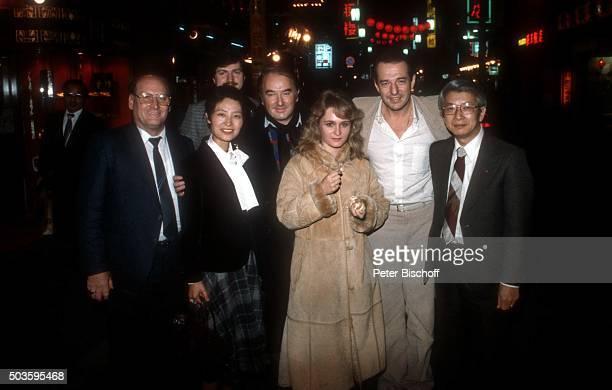Siegfried Hohloch Robert Jung Nicole Ralph Siegel japanischer Plattenrepräsentant privat am Rande vom Internationalen Liederfestival am in Tokio Japan