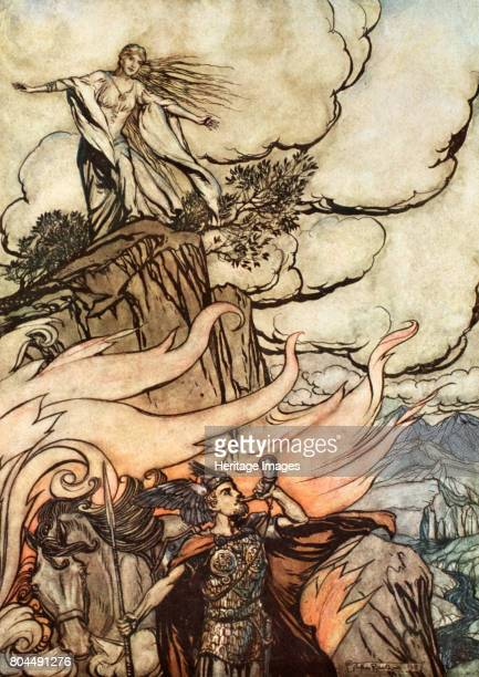 Siegfried leaves Brunnhilde in search of adventure' 1924 Illustration from Siegfried and the Twilight of the Gods Having given Brunnhilde the ring...
