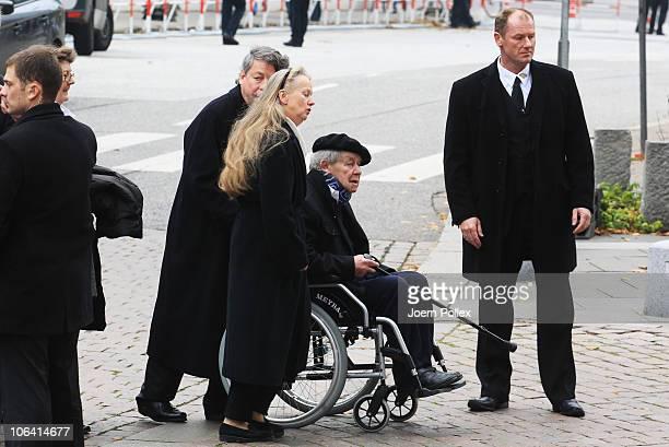 Siegfried Lenz arrives for the memorial service for Loki Schmidt wife of former German Chancellor Helmut Schmidt at the St Michaelis church on...