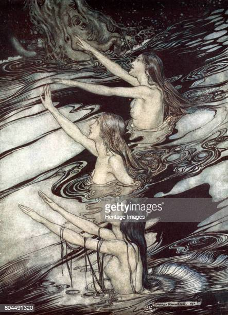 'Siegfried Siegfried Our warning is true flee oh flee from the curse' 1924 Illustration from Siegfried and the Twilight of the Gods The Rhine Maidens...