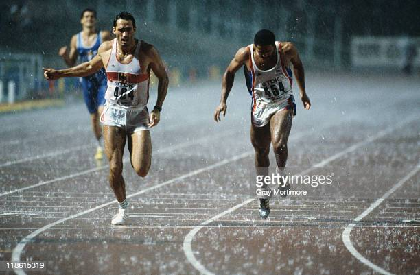 Siegfried Wentz of West Germany and Daley Thompson of Great Britain competing in the 400 Metres of the Men's Decathlon event at the World...