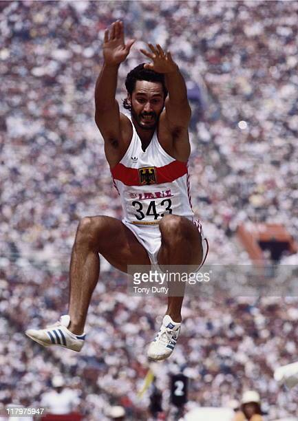 Siegfried Wentz of West Germany during the Long jump event of the Men's Decathlon on 8th August 1984 during the XXIII Olympic Games at the Los...