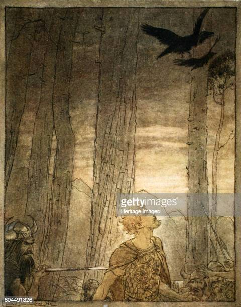 Siegfried's death' 1924 Illustration from Siegfried and the Twilight of the Gods Siegfried distracted by Wotan's ravens is then stabbed in the back...