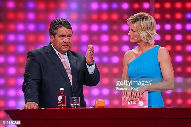 Siegmar Gabriel and Barbara Hahlweg attend the Deutscher Gruenderpreis on July 5, 2016 in Berlin, Germany.