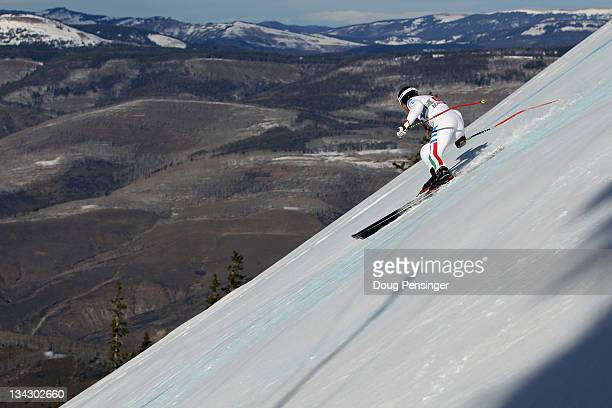 Siegmar Klotz of Italy descends the course during men's downhill training on the Birds of Prey at the Audi FIS World Cup on November 30 2011 in...
